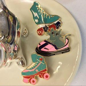 Fun Day Pin Set - Kitty Bumper Car & roller skates